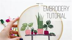 modern plants embroidery tutorial
