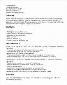 Automotive Technician Resume Professional Entry Level Automotive Technician Templates