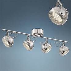 Led Ceiling Track Light Fixtures Pro Track Round Back 4 Light Led Nickel Ceiling Fixture