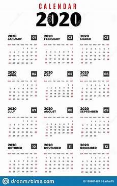 Week Calander Calendar 2020 Week Starts On Sunday Basic Business