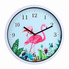 home decor clocks 30cm flamingo pattern beautiful silent wall clocks for