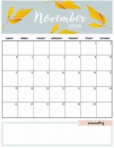 November Calendar Decorations Cute Template Cute Calendar