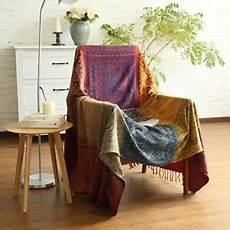 150cm x 190cm chenille jacquard tassels throw blanket sofa