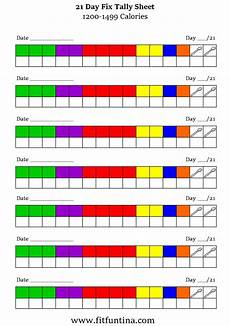 21 Day Fix Chart 21 Day Fix Tally Sheets Fit Fun Tina