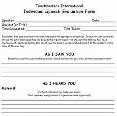 Toastmasters Evaluation Form Toastmaster Evaluation Template 20 Free Word Pdf