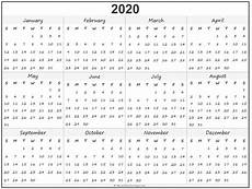 Year Calendar 2020 Printable 2020 Year Calendar Yearly Printable