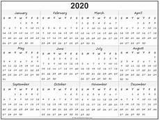 2020 Printable Year Calendar 2020 Year Calendar Yearly Printable