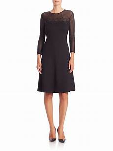 quarter sleeve dress escada three quarter mesh sleeve embellished lace dress in