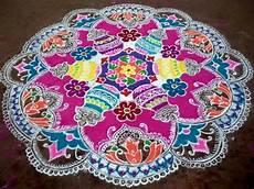 Color Kolam Designs With Dots Pongal Kolam Designs Pongal Sankranti Kolam Designs