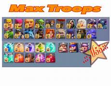 Clash Of Clans Max Levels Chart The Max Troops Level