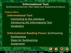 Informational Powerpoint Ppt Informational Text Synthesizing Sources Main Ideas