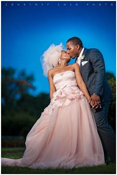 african american bride blush wedding gown bride and
