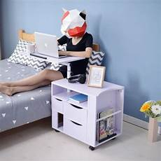 multifunctional modern rolling wood nightstands bedside