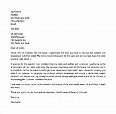 Thank You Letter For An Interview Sample Free 8 Sample Thank You Letter After Second Interview In