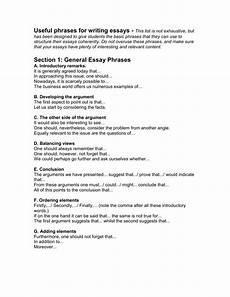 Essay Phrases Useful Phrases For Writing Essays