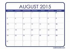 Calendar 2015 August 2015 Monthly Calendars Calendars