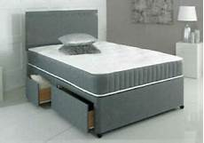 new grey orthopedic divan bed with mattress and headboard