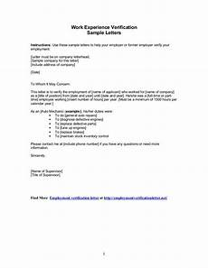 Work Letter Sample Letters Work Experience Verification