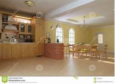cucina e sala da pranzo cucina e sala da pranzo di lusso classiche illustrazione