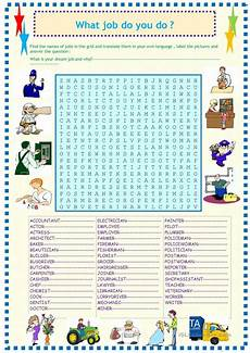 Job Search Activities Jobs And Occupations Wordsearch Worksheet Free Esl
