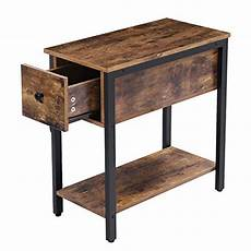 Hoobro End Table Rustic Side Table With 3 Tier Shelf by Hoobro Side Table 2 Tier Nightstand With Drawer Narrow