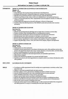 Medical Scheduler Resume Medical Scheduler Resume Samples Velvet Jobs