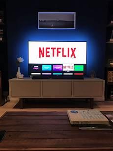 Lg Tv Hue Lights Phillips Hue Lightstrip In Place Behind Tv Room Setup