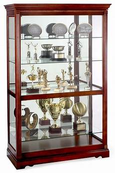 these trophy cases with cherry finish are for
