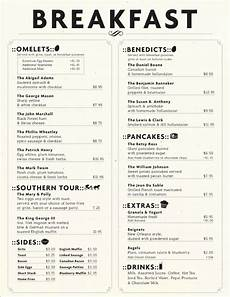 Breakfast Menu Layout Eli S Table Menu Designed By Charleston Hospitality Group