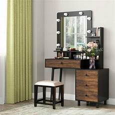 tribesigns vanity set with lighted mirror drawers vintage
