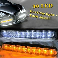 Drl Light On Dash Universal 2x 30 Led Amber Turn Signal Lights Amp Drl Daytime