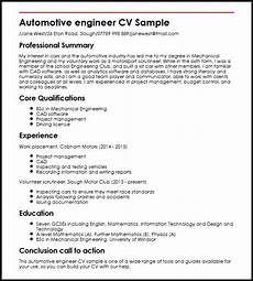 Automotive Cv Automotive Engineer Cv Sample Myperfectcv