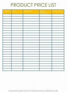 Template For Price List Price List Templates Free Samples And Formats For Excel