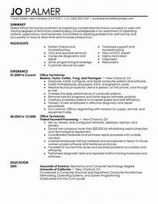 Sample Resume For Office Job Best Office Technician Resume Example From Professional