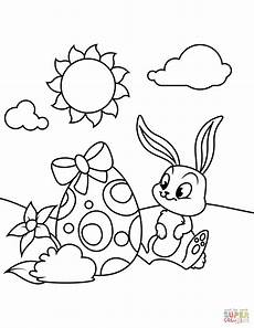 bunny and easter egg coloring page free printable