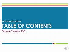 Apa Style Table Of Contents Apa Style Table Of Contents Screencast Youtube