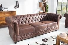 chesterfield 3er sofa vintage braun aus dem hause casa