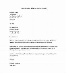 Thank You Letter After Service Completed 8 Thank You Note After Phone Interview Free Sample