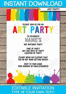 Printable Party Designs Art Party Invitations Paint Party Template