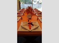 Thanksgiving table setting. Made paper plates and plastic