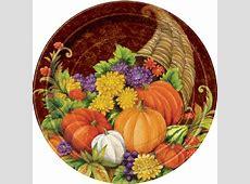"""9"""" Horn of Plenty Thanksgiving Paper Dinner Plates, 8ct"""