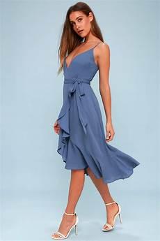 wrap dress midi dress blue dress ruffled dress