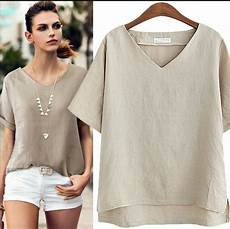 casual blouse womens linen sleeve casual t shirt plus