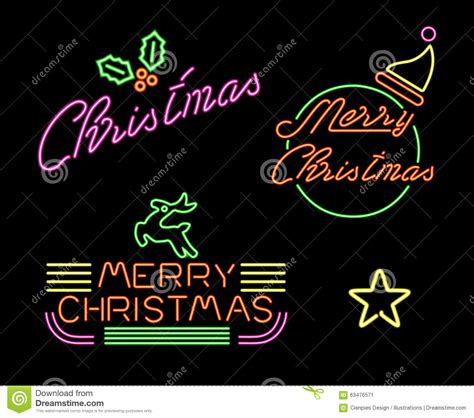 neon christmas decorations merry set retro neon light sign label stock vector illustration of colorful merry