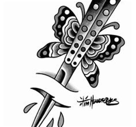 butterfly knife tattoo designs butterfly knife tattoo flash painting pinterest