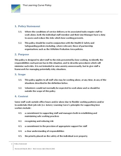 Lone Working Policy Free Download Lone Working Policy Template