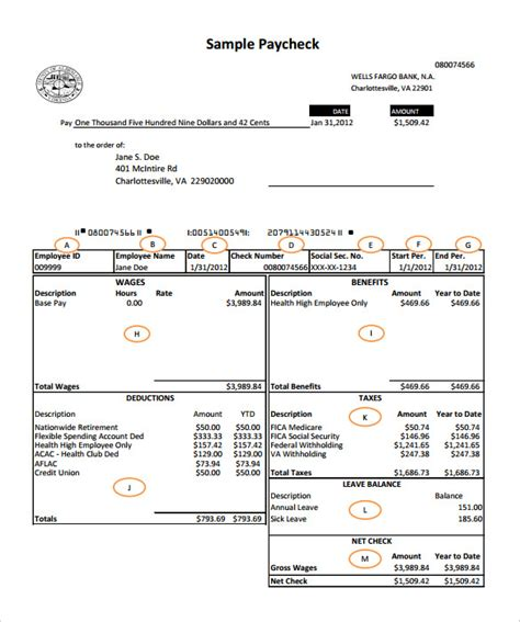 free printable paycheck template pay stub template excel templates
