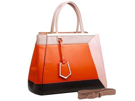 Fendi Patchwork Tote by Fendi 2jours Calfskin Tote Bag In Patchwork Leather Orange