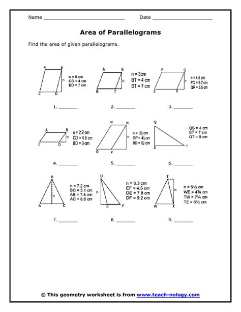 free printable area of parallelogram worksheets area of a parallelogram worksheet lesupercoin printables