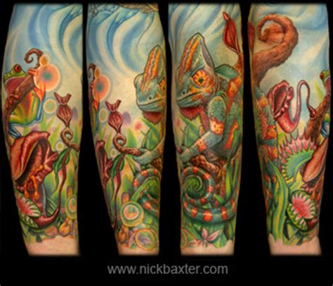 new school jungle tattoo kevin s jungle sleeve by nick baxter tattoos